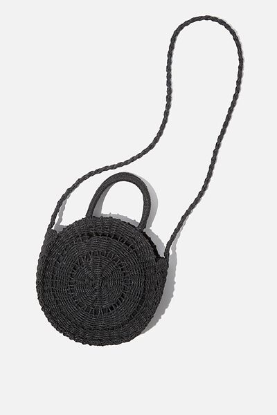Summer Love Woven Circle Bag, BLACK