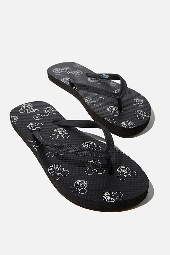 The Rubi Flip Flop, LCN DIS BLACK WHITE MICKEY