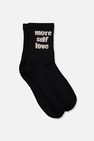 Fine Rib Sports Sock, BLACK/MORE SELF LOVE