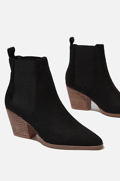 Sophia Gusset Boot, BLACK MICRO