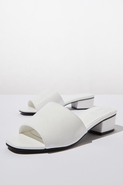 Dublin Low Mule Heel, WHITE SMOOTH