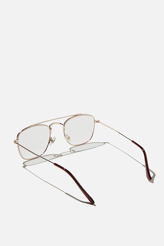 Retro Mid Blue Light Blocking Glasses, GOLD