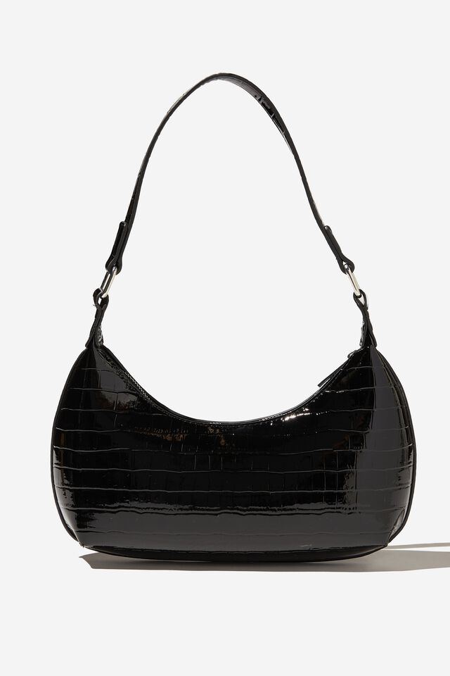 Daisy Shoulder Bag, BLACK PATENT TEXTURE