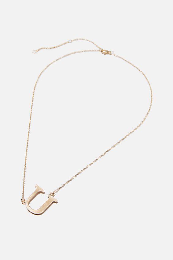 Tilted Letter Necklace, GOLD U