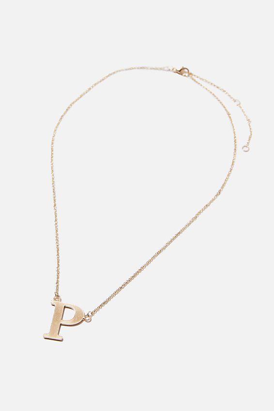 Tilted Letter Necklace, GOLD P