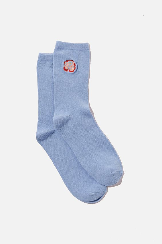 Carrie Crew Sock, WAVE BLUE COTTAGE CORE