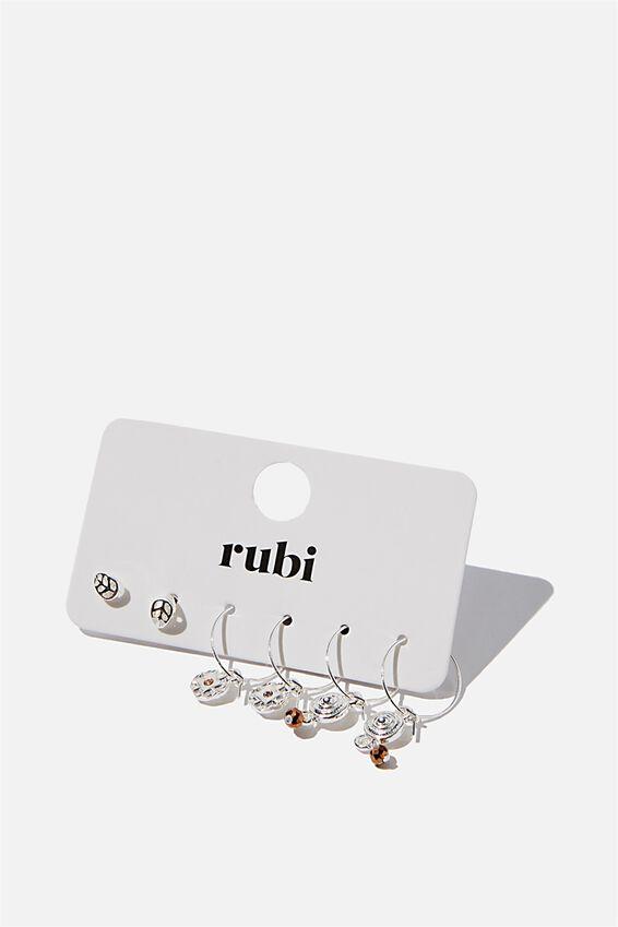 Boho Trinkets 3Pk Earrings, SILVER