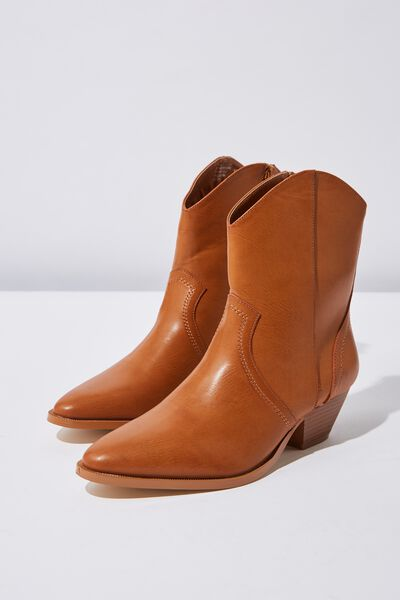 Larissa Western Boot, TAN SMOOTH PU