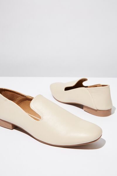 Malinda Square Toe Loafer, STONE SMOOTH PU