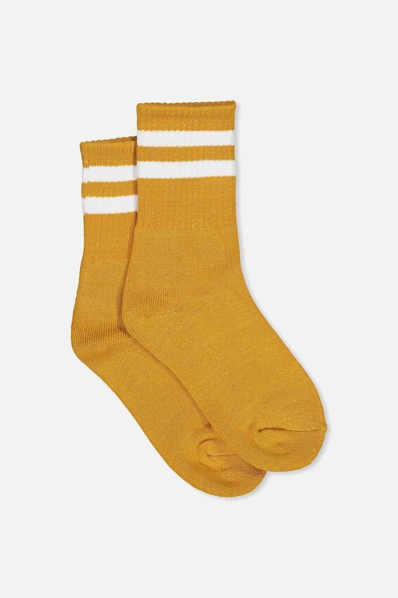 Sporty Stripe Crew Sock, MUSTARD/WHITE STRIPE