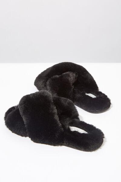 Ashlee Crossover Slipper, BLACK
