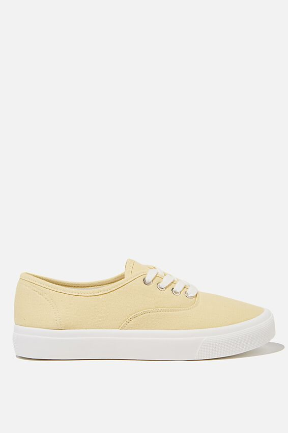 Jamie Lace Up Plimsoll, LEMON