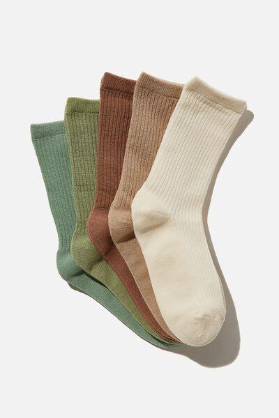 5Pk Everyday Rib Sock, PISTACHIO MIX