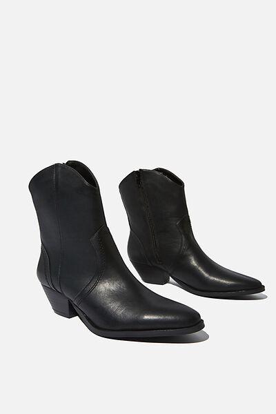 Larissa Western Boot, BLACK SMOOTH PU