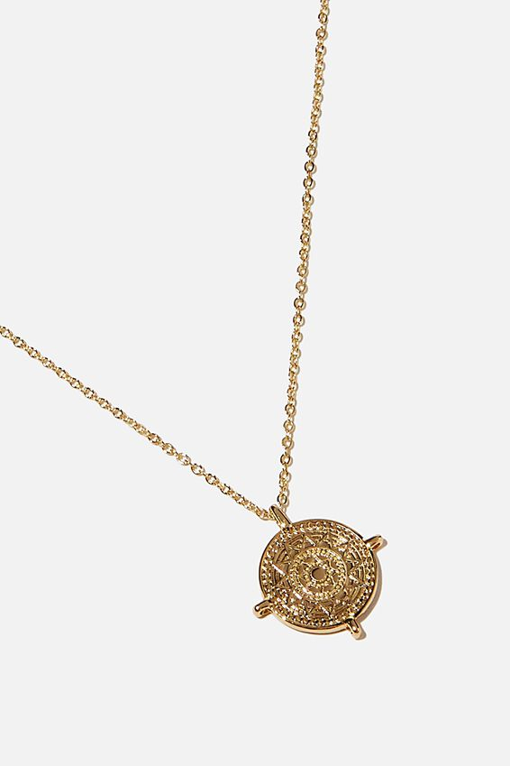 Premium Pendant Necklace, GOLD PLATED COMPASS