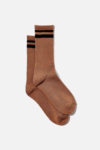 Club House Crew Sock, COCOA BEAN/BLACK