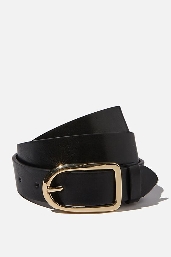 Everyday Essential Buckle Belt, BLACK/ GOLD