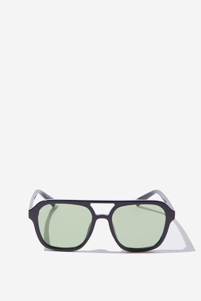 Jaz Oversized Aviator Sunglasses, BLACK/GREEN