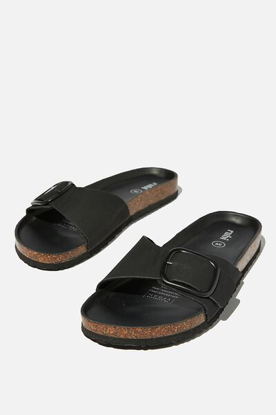 Rex Oversized Single Buckle Slide, BLACK NUBUCK