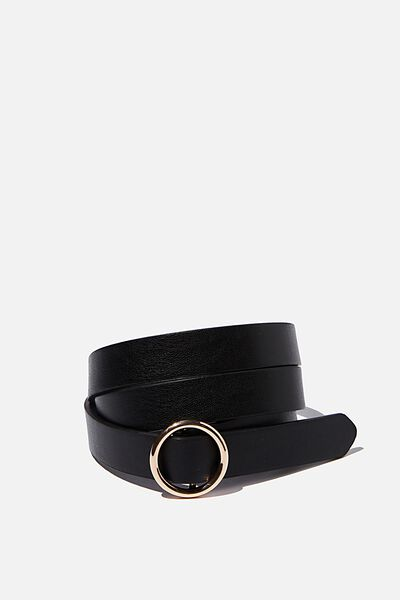 Round About Buckle Belt, BLACK