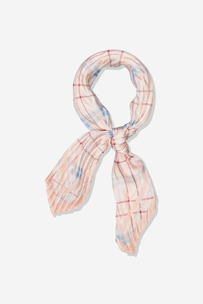 Soho Broadway Pleat Scarf, BLUSH LILY CROSS CHECK