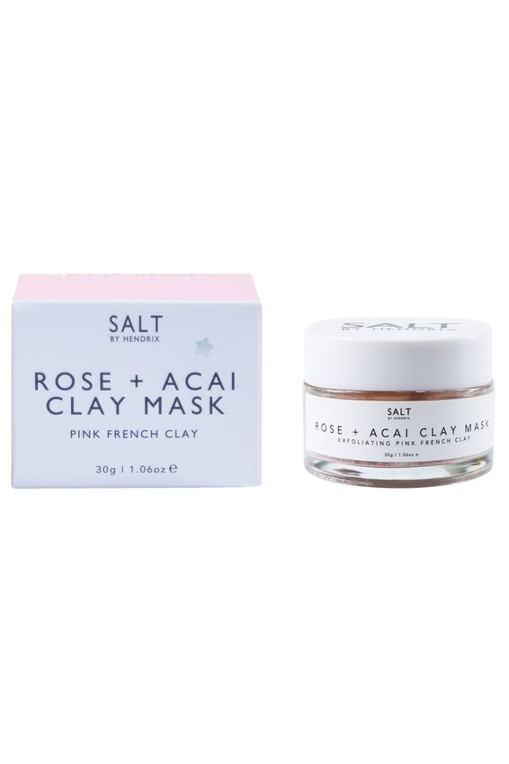 Salt By Hendrix Rose And Acai Face Mask, PINK FRENCH CLAY