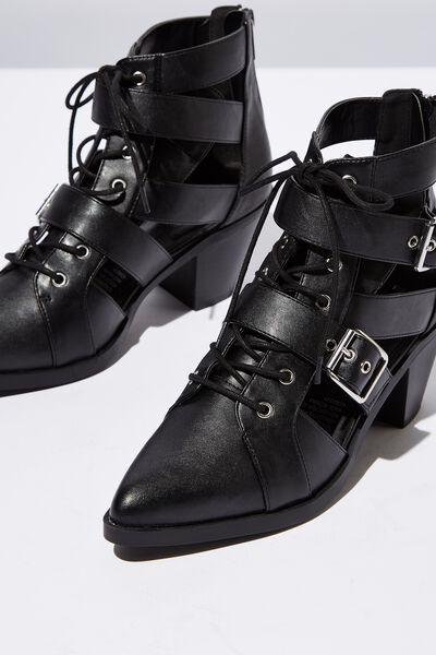 Ariana Buckle Boot, BLACK SMOOTH