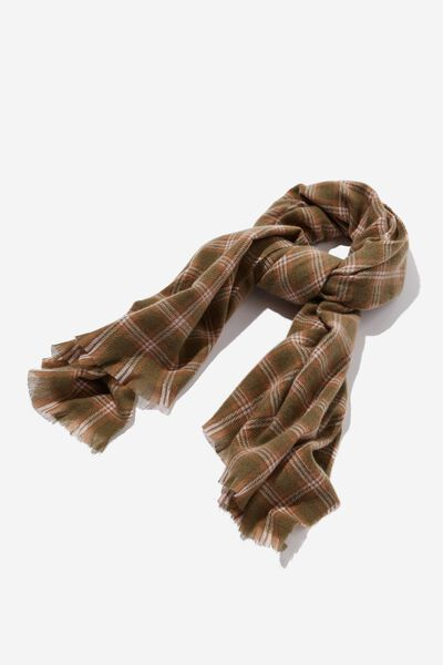 Millie Mid Weight Scarf, DUSTY OLIVE KATYA CHECK