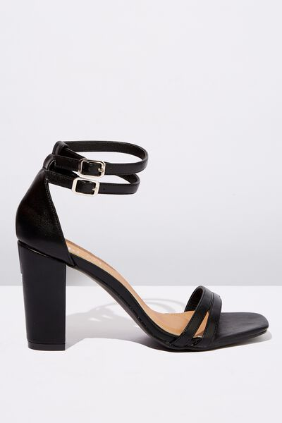 Shelby Double Strap Block Heel, BLACK SMOOTH