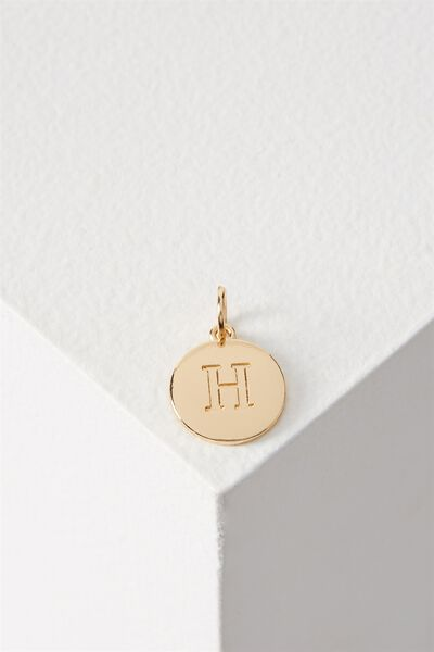 Letter Flat Pendant Charm, GOLD - H