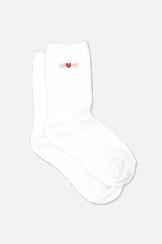 Embroidered Crew Sock, WHITE 3 HEARTS