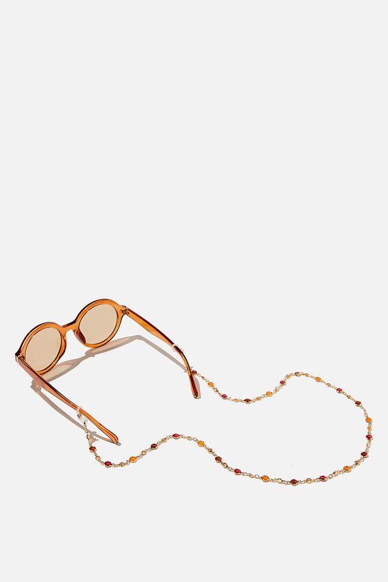 Ava Glasses Chain, AMBER MULTI GEM