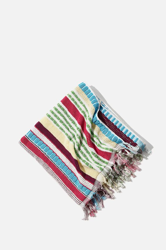 Cable Beach Towel, DEEP RASPBERRY BOARDWALK STRIPE