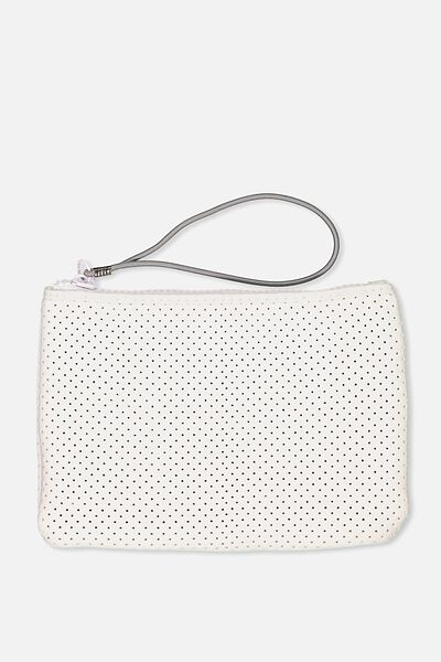 Active Perforated Clutch, WHITE