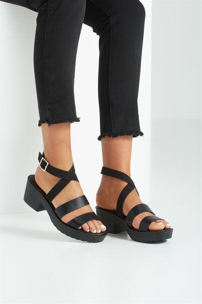 Ascot Low Buckle Heel, BLACK