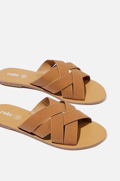 Aggy Woven Slide Sandal, TAN NUBUCK