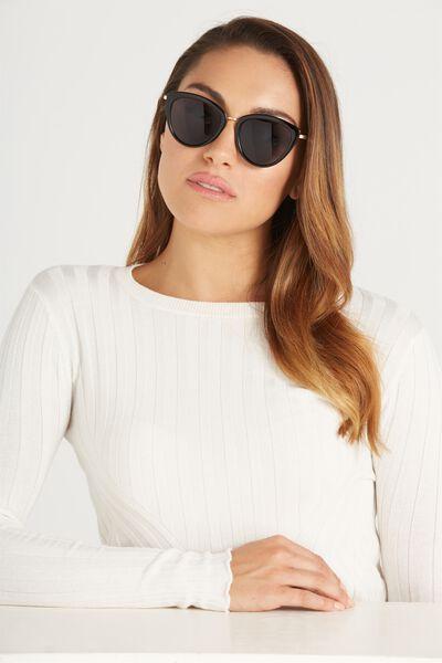 Zoe Cateye Sunglasses, SHINY BLACK/SHINY GOLD