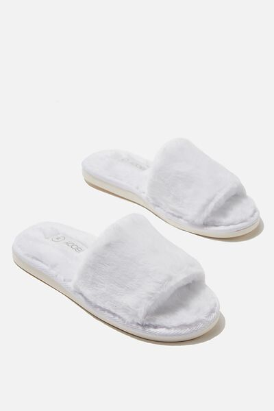 Emma Slide Slipper, WHITE