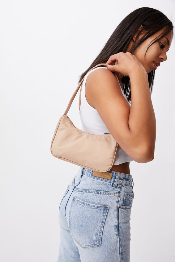Nylon Underarm Bag, LATTE