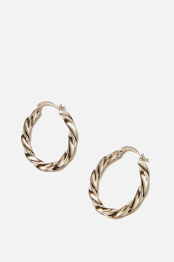 Luxe Layers Twister Oblong Hoop, GOLD
