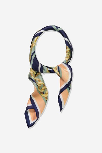 Soho Satin Scarf, CHAIN PRINT ECLIPSE
