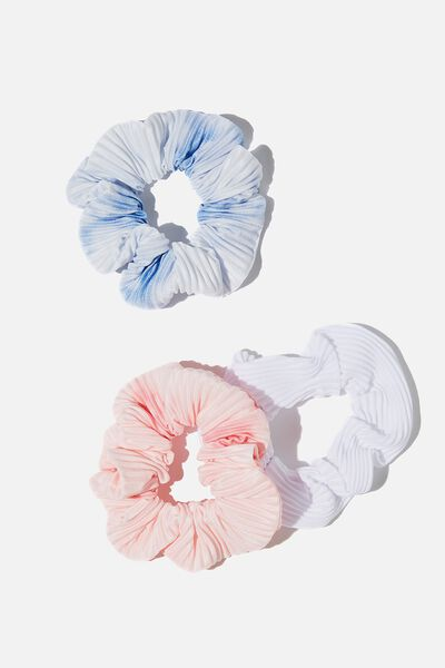 3Pk Scrunchies, BLUE WHITE PINK TIE DYE