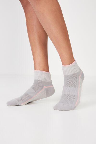 Cushioned Quarter Crew Sock, GREY MARLE/POWDER PINK