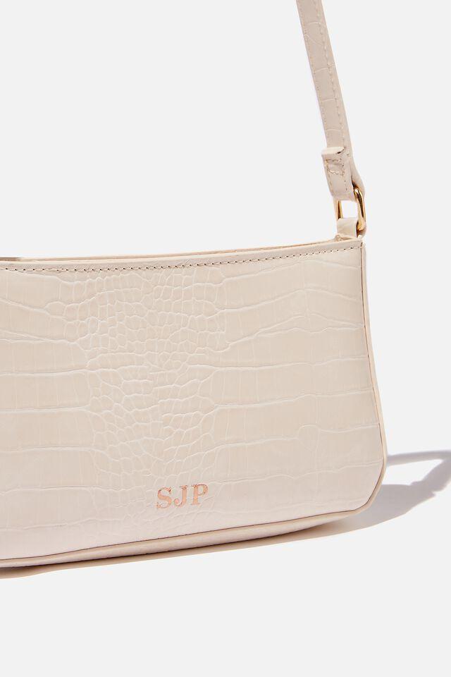 Personalised Lexi Underarm Bag, ECRU TEXTURE
