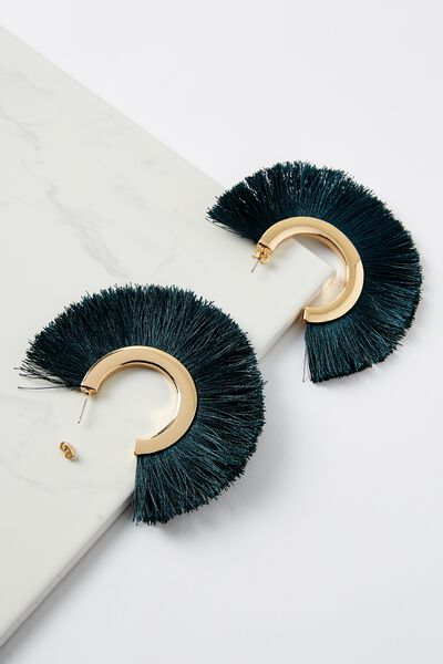 Fringe Statement Earring, JUNE BUG