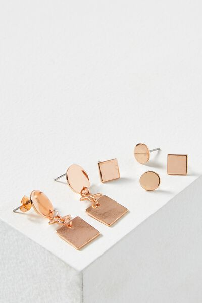 Alba Core Stud Pack, ROSE GOLD