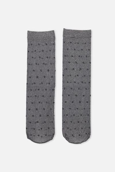 Junior Spot Sock, BLACK
