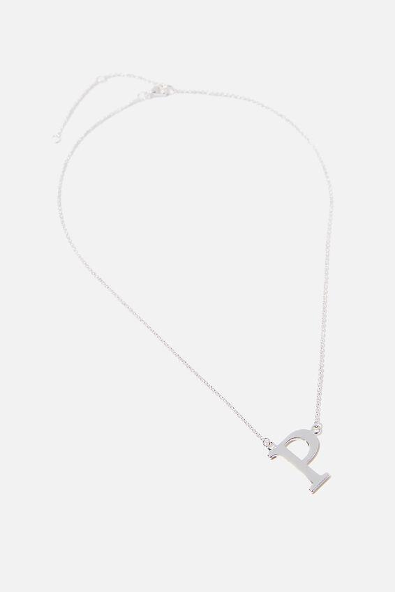 Tilted Letter Necklace, SILVER P
