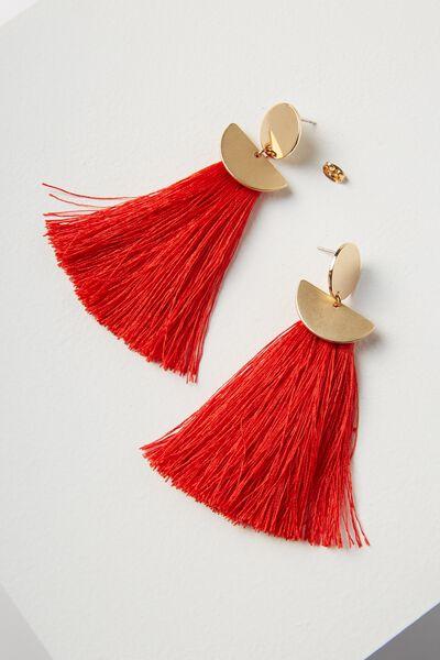 Princess Tassel Statement Earring, RED/GOLD