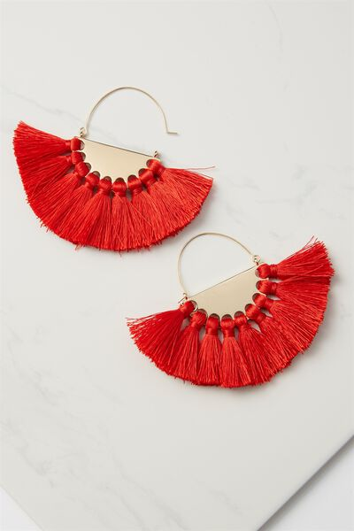 Half Hoop Fan Tassel Earring, RED/GOLD